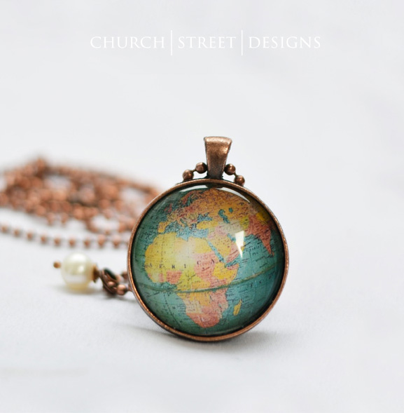 Globe necklace africa europe asia world map pendant church globe necklace africa europe asia world map pendant gumiabroncs Image collections