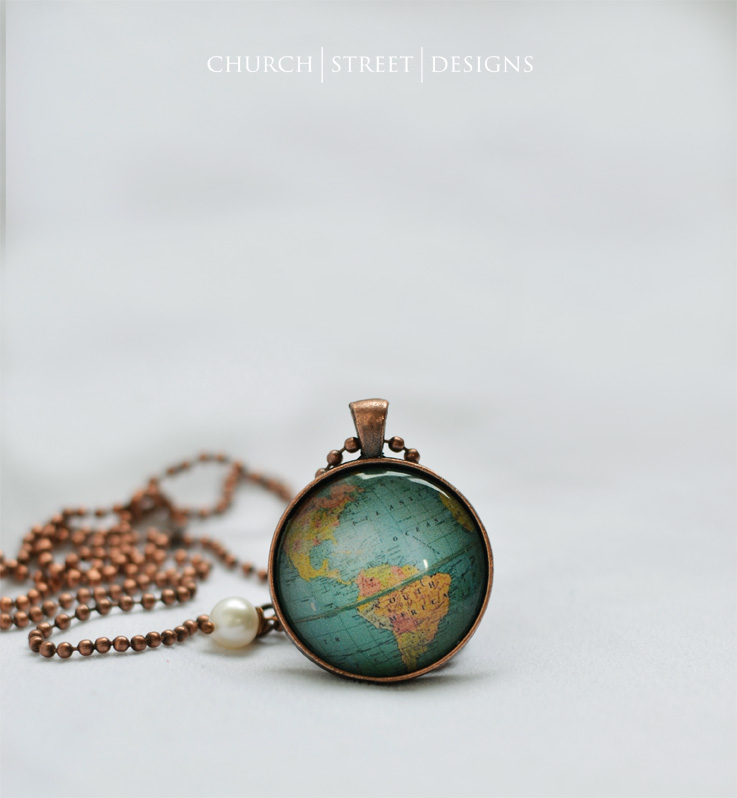 Globe necklace north south america world map pendant church globe necklace north south america world map pendant gumiabroncs Choice Image