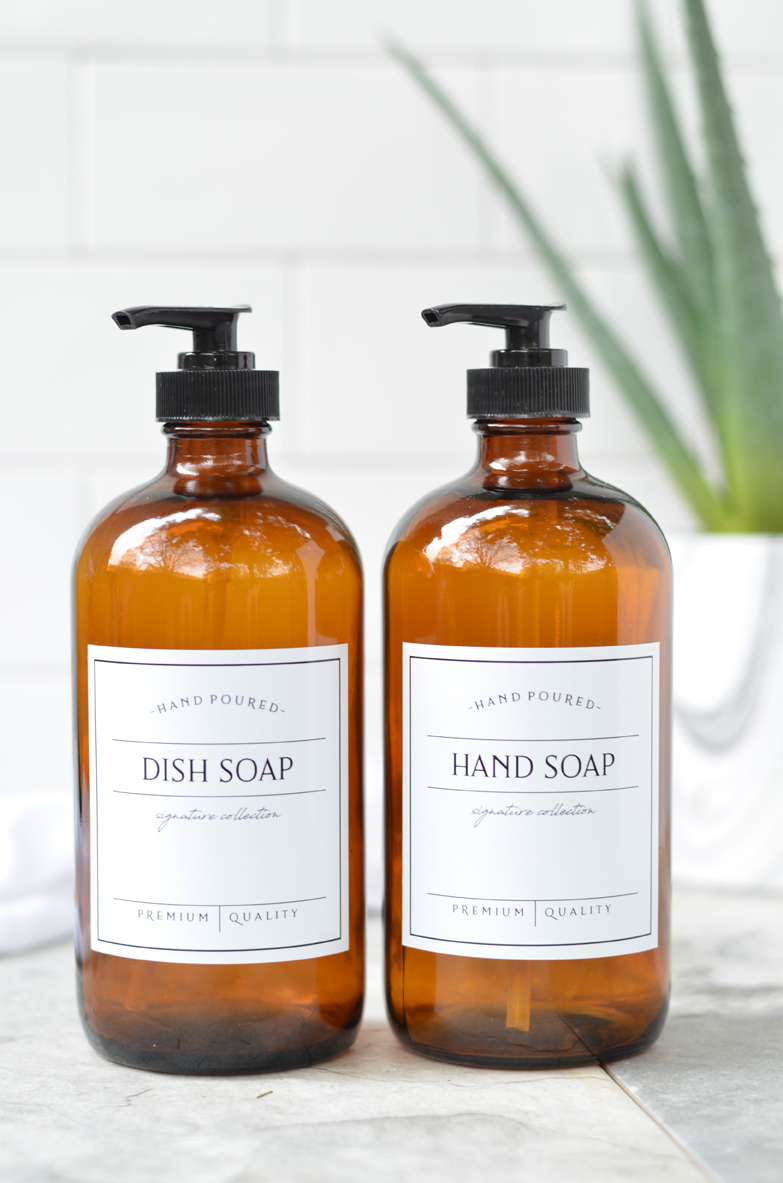 Amber Glass Soap Dispensers - Hand Soap and Dish Soap Pumps with Labels -  Set of 2 - FREE SHIPPING